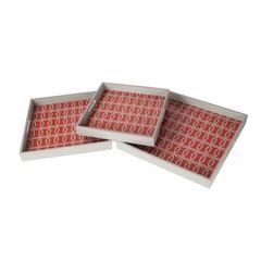 3 Pc Wooden Tray Set