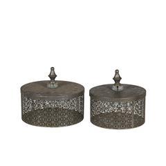 2Pc Iron Boxes - Silver