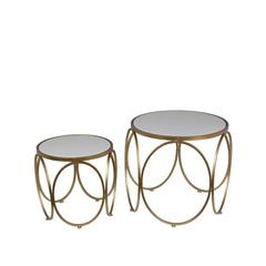 2 Pc Gold Accent Table - Stone
