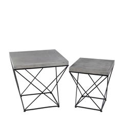 2 Pc Iron Tables - Cement Top