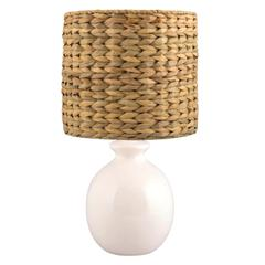 21 in. Smooth Round Vase Ceramic Table Lamp in White