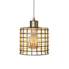 Fangio Lighting's #3860 5.5in. Basket Cage Metal Pendant in a Antique Silver Finish (with Canopy & Bulb In Box)