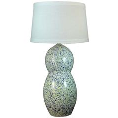 Fangio Lighting's #8858BY 30.75 inch Ceramic Table Lamp In Blue & Yellow Granite Finish