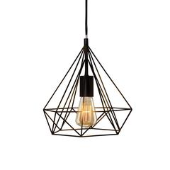 Fangio Lighting's #3862 11 in. Diamond Cage Metal Pendant in a Black Finish (with Canopy & Bulb In Box)