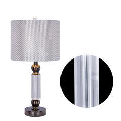 Fangio Lighting's #5130BLKC 23.75 inch Clear Crystal & Black Chrome Metal Table Lamp w/LED Nightlight