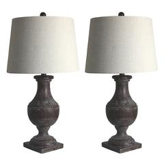 Pair of 28 in. Classic Urn On Square Pedestal Resin Table Lamps in Bronze