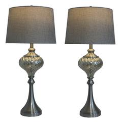 Two Luxury Lamps Without The Luxury Cost! Fangio Lighting's 1594 Pair of 30 in. Brushed Steel & Swirled Mercury Glass Font Table Lamps