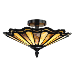"HEIDI Tiffany-style 2 Light Semi-flush Ceiling Fixture 16"" Shade"