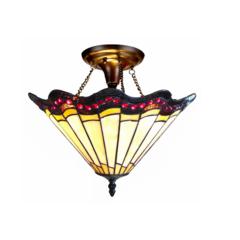 """ADRIANA Tiffany-style 2 Light Baroque Semi-flush Ceiling Fixture 16"""" Shade"""