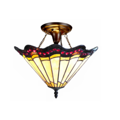 "CHLOE Lighting ADRIANA Tiffany-style 2 Light Baroque Semi-flush Ceiling Fixture 16"" Shade"