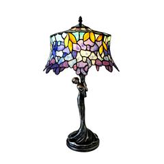 "CHLOE Lighting SOPHIA Wisteria 1 Light Antique Dark Bronze Accent Lamp 13"" Shade"