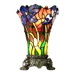 "CHLOE Lighting BROOK Floral 1 Light Antique Brass Accent Lamp 11"" Tall Shade"