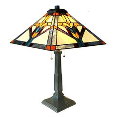 "CHLOE Lighting SHAY Mission 2 Light Antique Dark Bronze Table Lamp 16"" Shade"