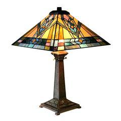 "CHLOE Lighting MICHAEL Mission 2 Light Antique Dark Bronze Table Lamp 16"" Shade"