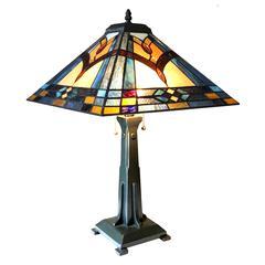 "CHLOE Lighting ETHAN Mission 2 Light Antique Dark Bronze Table Lamp 16"" Shade"
