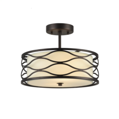 "GWEN Transitional 2 Light Rubbed Bronze Semi-flush Ceiling Fixture 13"" Wide"