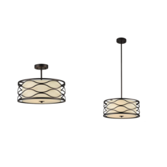"GWEN Transitional 3 Light Rubbed Bronze Semi-flush Ceiling Fixture 16"" Wide"