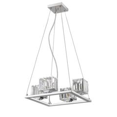 "CHLOE Lighting TRILLUMINATE Contemporary 4 Light Chrome Finish Crystal Shade Mini Chandelier 16"" Wide"