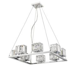 "CHLOE Lighting TRILLUMINATE Contemporary 8 Light Chrome Finish Crystal Shade Chandelier 24"" Wide"