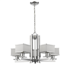"CHLOE Lighting TRILLUMINATE Contemporary 5 Light Chrome Finish White Opal Glass Chandelier 26"" Wide"