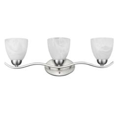 "CHLOE Lighting UNDINE Transitional 3 Light Brushed Nickel Bath Vanity Wall Fixture White Alabaster Glass 24"" Wide"