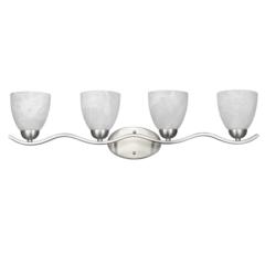"CHLOE Lighting UNDINE Transitional 4 Light Brushed Nickel Bath Vanity Wall Fixture White Alabaster Glass 32"" Wide"