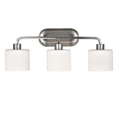 "CHLOE Lighting LEIA Transitional 3 Light Brushed Nickel Bath Vanity Light 24"" Wide"