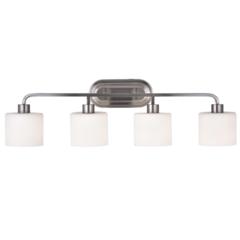 "CHLOE Lighting LEIA Transitional 4 Light Brushed Nickel Bath Vanity Light 34"" Wide"