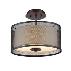 "AUDREY Transitional 2 Light Rubbed Bronze Semi-flush Ceiling Fixture 13"" Wide"