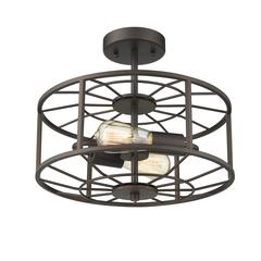 "IRONCLAD Industrial 2 Light  Rubbed Bronze Semi-flush Ceiling Fixture 14"" Wide"