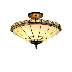 """BELLE Tiffany-style 2 Light Mission Semi-flush Ceiling Fixture 16"""" Shade"""