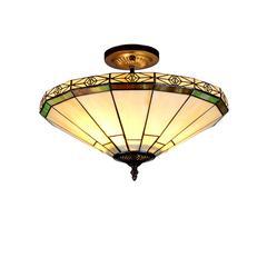 "CHLOE Lighting BELLE Tiffany-style 2 Light Mission Semi-flush Ceiling Fixture 16"" Shade"