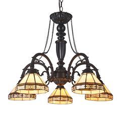 "CHLOE Lighting BELLE Tiffany-style 5 Light Mission Large Chandelier 27"" Wide"