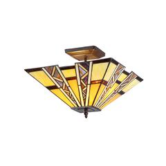 "PROGRESSIVE Tiffany-style 2 Light Mission Semi-flush Ceiling Fixture 14"" Shade"