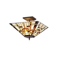 "FARLEY Tiffany-style Mission 2 Light Semi-flush Ceiling Fixture 14"" Shade"