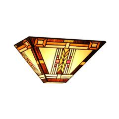 """CHLOE Lighting GODE Tiffany-style 1 Light Mission Wall Sconce 12"""" Wide"""