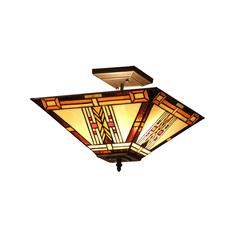 "GODE Tiffany-style 2 Light Mission Semi-flush Ceiling Fixture 14"" Shade"