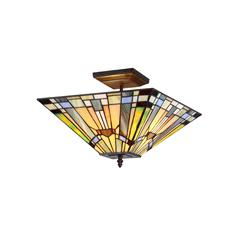"KINSEY Tiffany-style 2 Light Mission Semi-flush Ceiling Fixture 14"" Shade"