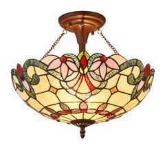 "COOPER Tiffany-style 2 Light Victorian Semi-flush Ceiling Fixture 16"" Shade"