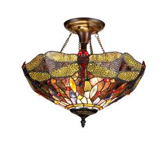 "DRAGAN Tiffany-style 2 Light Dragonfly Semi-flush Ceiling Fixture 16"" Shade"
