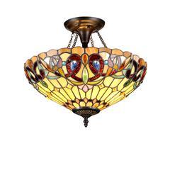 "SERENITY Tiffany-style 2 Light Victorian Semi-flush Ceiling Fixture 16"" Shade"