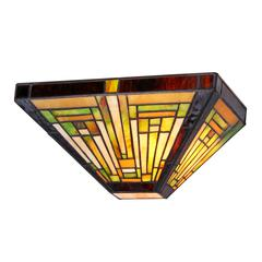 """CHLOE Lighting INNES Tiffany-style 1 Light Mission Wall Sconce 12"""" Wide"""