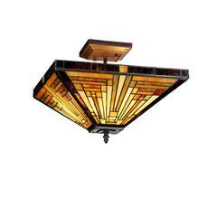 "INNES Tiffany-style 2 Light Mission Semi-flush Ceiling Fixture 14"" Shade"