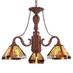 "CHLOE Lighting INNES Tiffany-style Mission 3 Light Mini Chandelier 23"" Wide"
