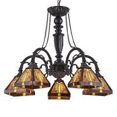 "CHLOE Lighting INNES Tiffany-style 5 Light Mission Large Chandelier 27"" Wide"