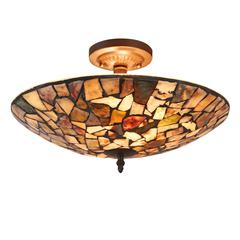 "CHLOE Lighting SANDY Mosaic 2 Light Semi-flush Ceiling Fixture 16"" Shade"