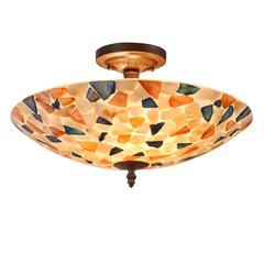 "CHLOE Lighting KOI Mosaic 2 Light Semi-flush Ceiling Fixture 16"" Shade"