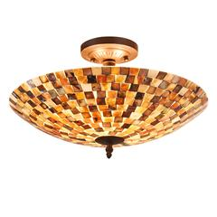 "CHLOE Lighting SHELLEY Mosaic 2 Light Semi-flush Ceiling Fixture 16"" Shade"