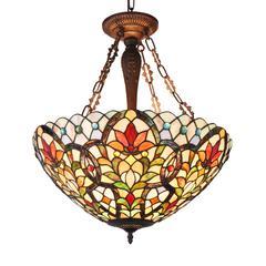 "CHLOE Lighting IVANA Tiffany-style 3 Light Floral Inverted Ceiling Pendant 21"" Shade"