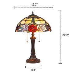 "SIMONE Floral 2 Light Dark Bronze Table Lamp 16"" Wide"